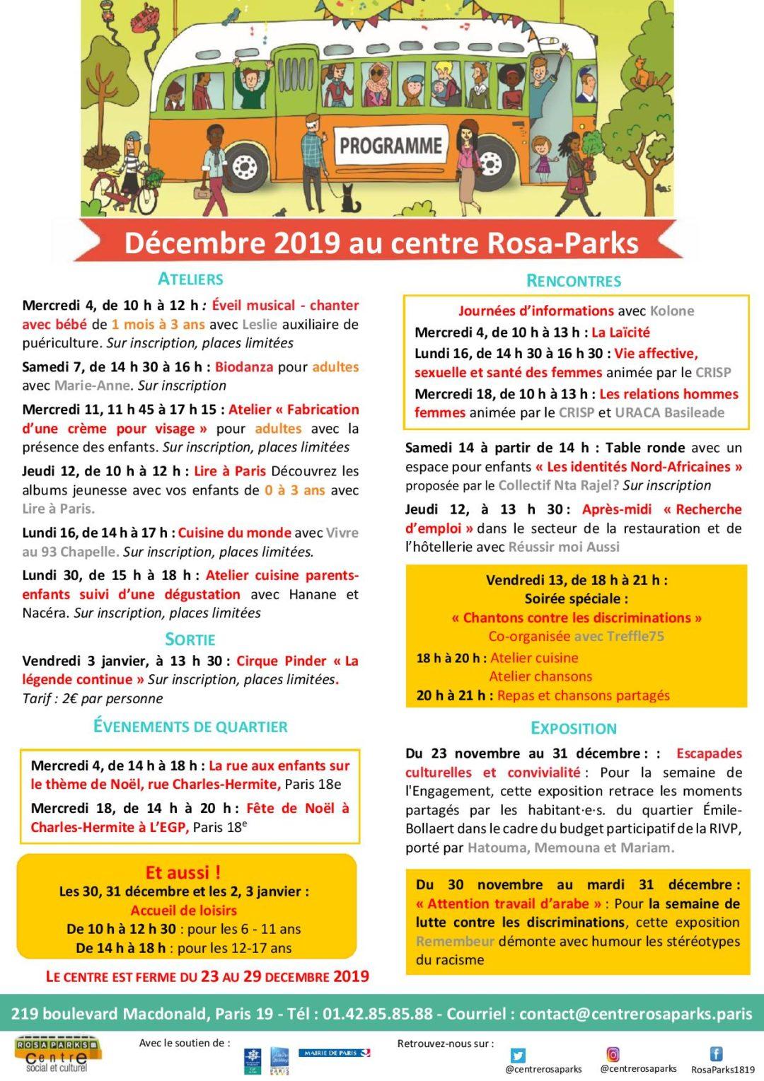 Programme du mois de décembre